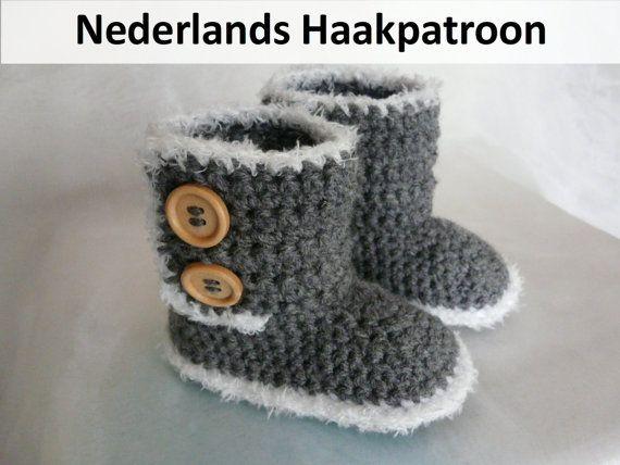 Nederlands Haakpatroon Ugg Style Boots 6 24 door ElodyKnitsforKids, €4.50