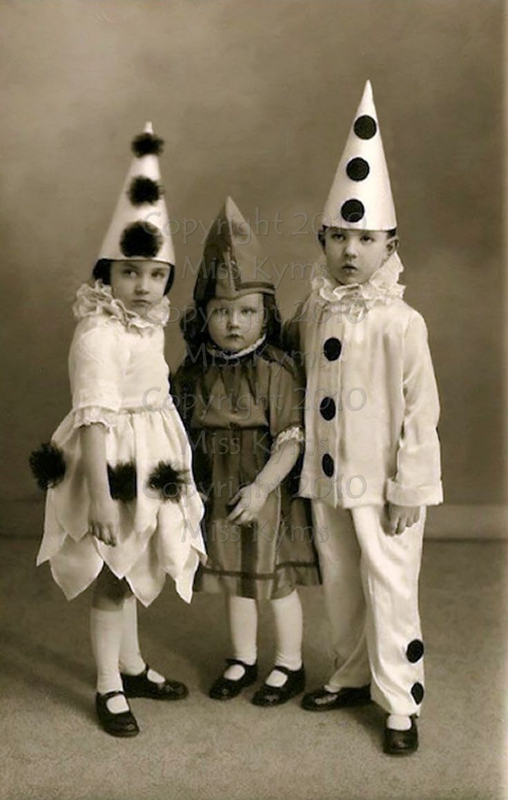 vintage photo children in clown costumes