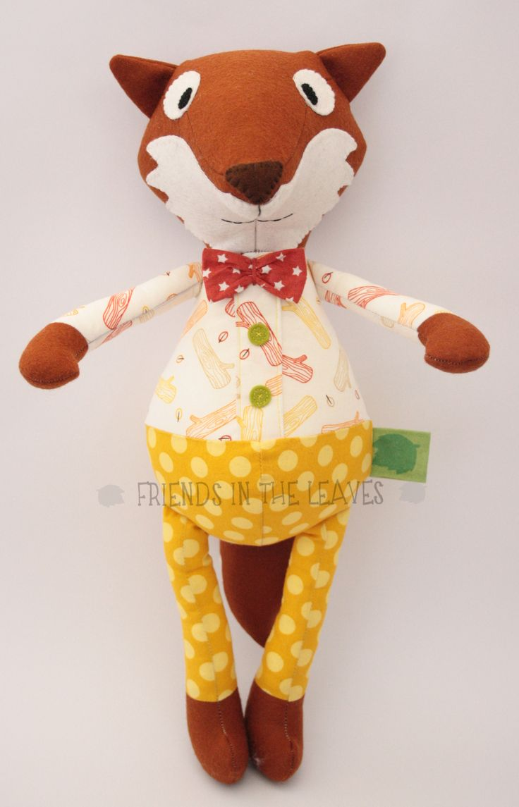 Mr John Lemon Fox by Friends in the Leaves. A perfect soft toy for a baby or child. Would look amazing in a woodland themed nursery!