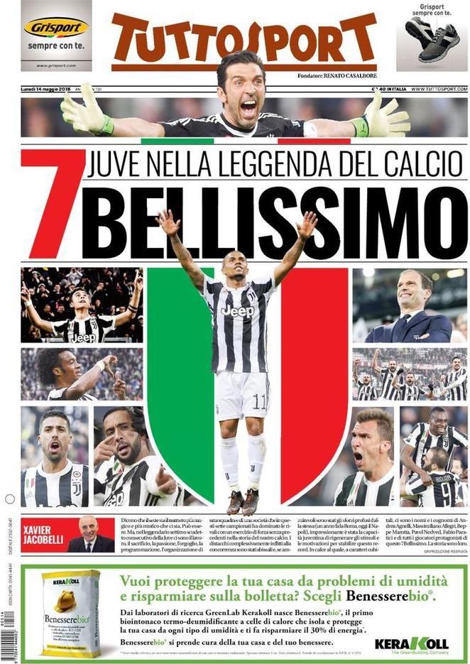 Prima Pagina Tuttosport 14/05/2018 Giocatori di calcio