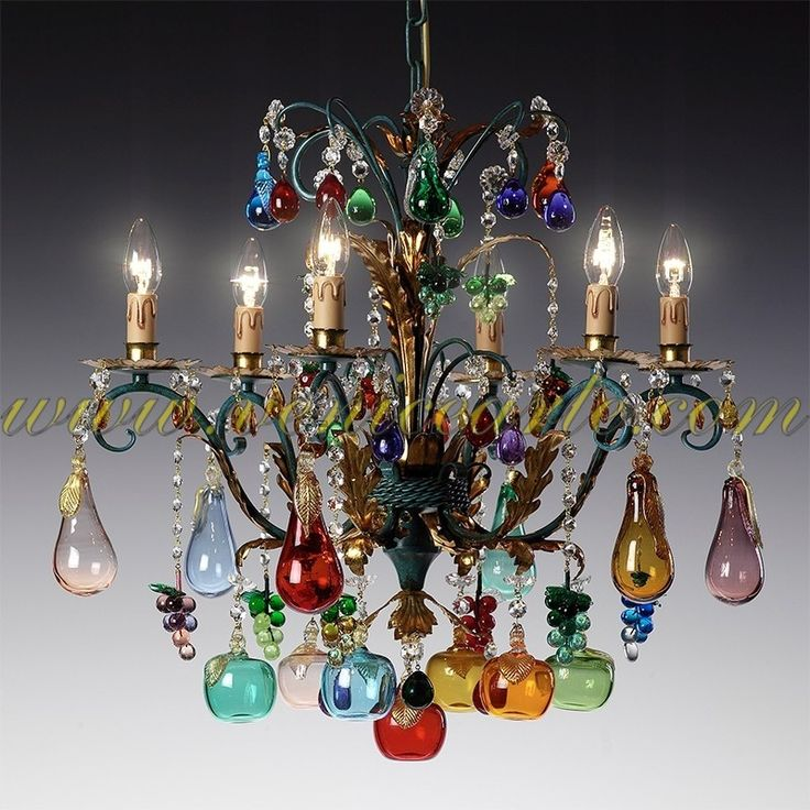 Artistic Chandelier With N Fruits In Murano Glass Bright Colors Traditional Forms