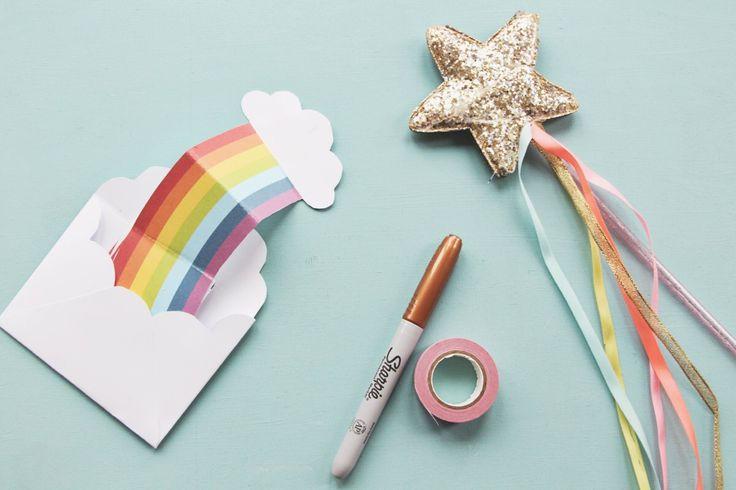 Geburtstagseinladung selbst basteln, Regenbogeneinladung, Druckvorlage Einladung, DIY, kostenlose Geburtstagseinladung