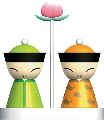 A di Alessi Mr and Mrs Chin Salt and Pepper Shakers.