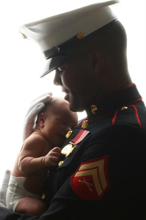 Marine and baby  Great photo idea for baby and daddy, but with baby in a cute diaper