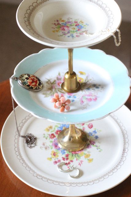 3 Tier Floral Plate Jewelry Stand Diy Jewelry Cookies
