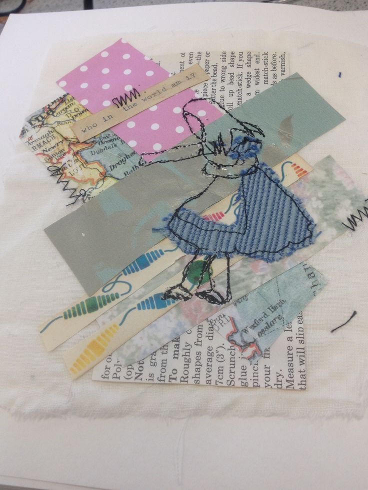 Georgia Motley: collage, mixed media, free machine stitch, alice in wonderland, vintage