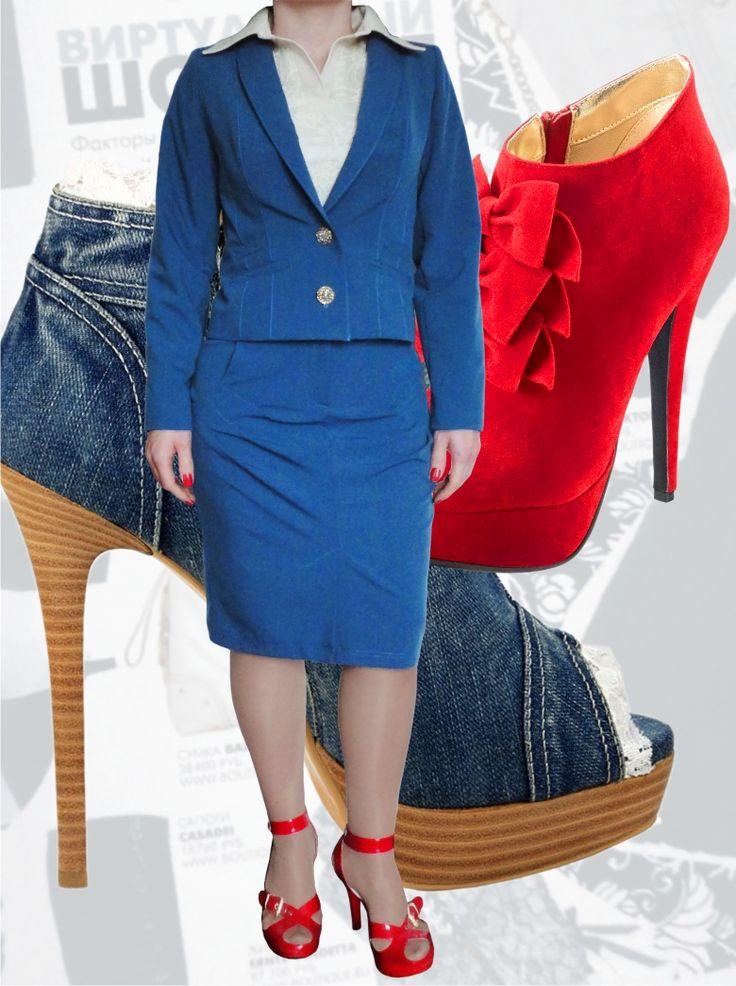 89$ Стильный деловой синий  костюм для полных девушек: жакет + юбка-карандаш Артикул 568, р50-64 Женские костюмы большие размеры  Женские костюмы деловые большие размеры  Женские костюмы с юбкой большие размеры