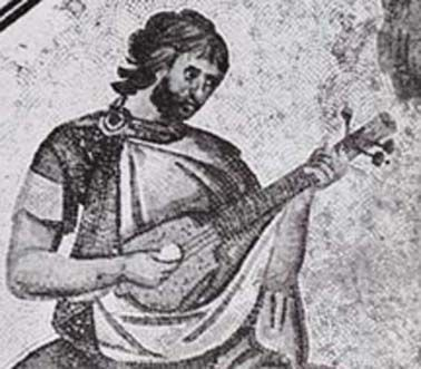 "Byzantine_musician_6th_cent_ The tabouras is a similar instrument to both bouzouki and saz, and with a longer recorded history. It is mentioned in the famous 12th century Byzantine epic poem 'Digenis Akritis', which narrates the deeds of a border warrior. At one point in the poem Akritis, ""entered his chamber, picked up his tambouras and tuned it."