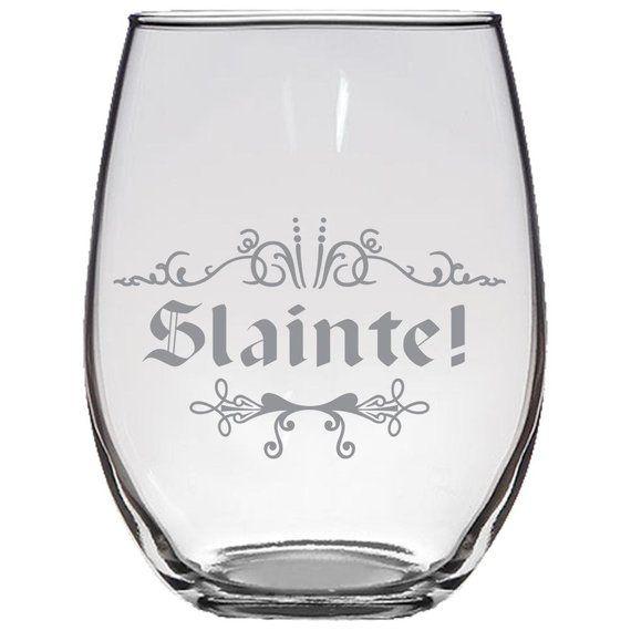 Slainte Stemless Wine Gllaser Etched Irish Scottish Cheers Toast Wedding Gl Gift For Him Her By Ilifestyle Hut