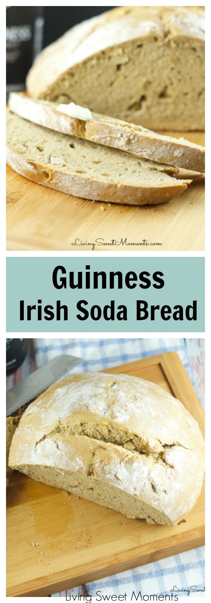 Guinness Irish Soda Bread - Delicious and easy to make homemade beer bread. Enjoy a deep flavor with without kneading. This bread requires no yeast at all. More St. Patrick's Day Recipes at livingsweetmoments.com via @Livingsmoments
