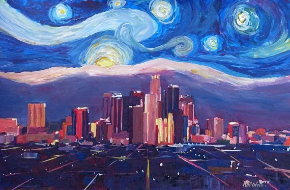 Starry Night in Los Angeles - Van Gogh Inspirations with Skyline and Mountains