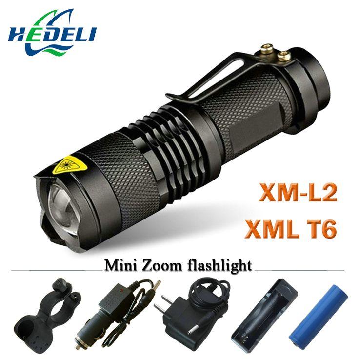 Mini zoom senter lanterna led cree xml t6 xm-l2 led torch powerfull rechargeable senter 3800 lumens menggunakan 18650 baterai