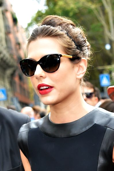 Charlotte Casiraghi arriving at the Gucci SS 2015 show in Milan, Italy