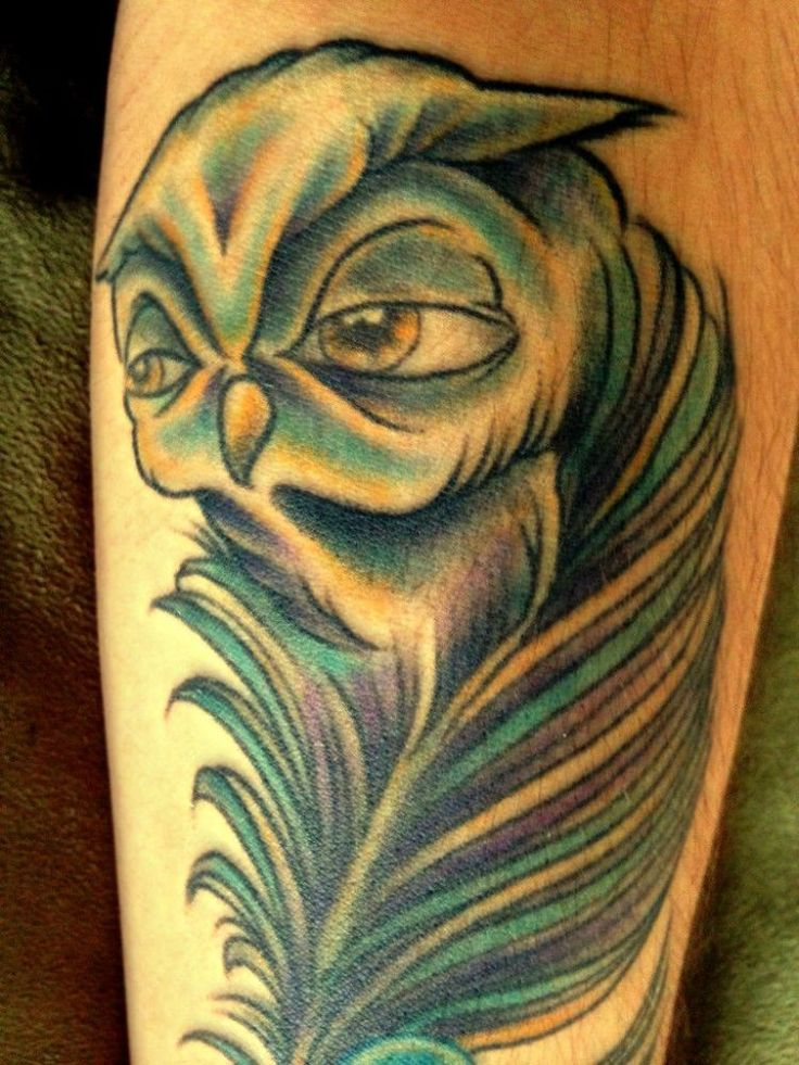 Owl feather tattoo on arm
