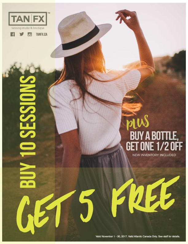 Halifax: Through November Buy 10 Sessions – Get 5 Free. PLUS Buy a Bottle, Get a Bottle Half-off!