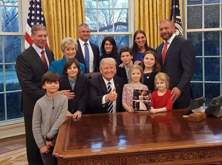 The trump White House:: brought to you by the same people who bring staged and phony pay-for-views. Their biggest SHAM yet! With a very large donation to the campaign Linda McMahon bought a posistion in tRumps White house.