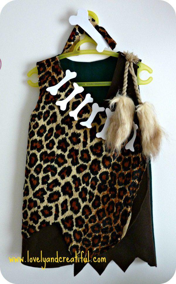 Disfraz de troglodita para niña de 3 años. Patrón gratis.