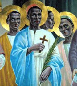 St. Charles Lwanga and Companions  Martyrs of Uganda.  The Society of Missionaries of Africa (known as the White Fathers) had only been in Uganda for 6 years and yet they had built up a community of converts whose faith would outshine their own. The earliest converts were soon instructing and leading new converts that the White Fathers couldn't reach. Many of these converts lived and taught at King Mwanga's court.