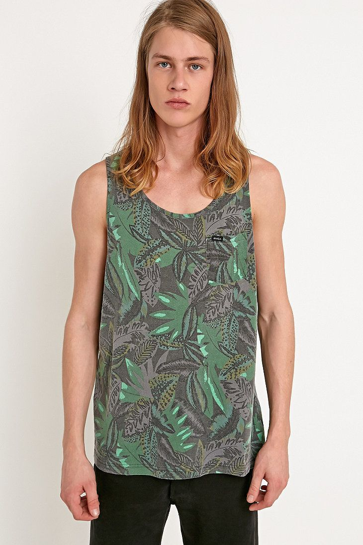 RVCA Jungle Leaves Tank in Grey and Green - Urban Outfitters