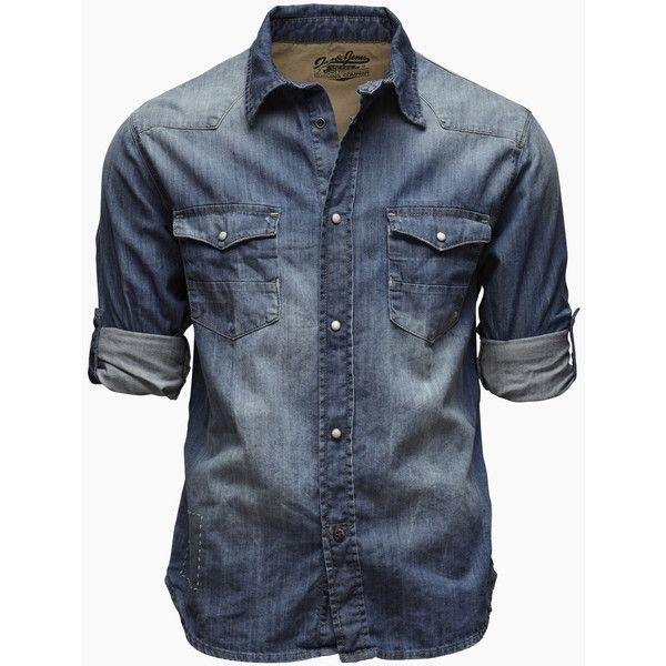 See this and similar Jack & Jones men's casual shirts - Denim shirt in regular fit. Press stud closure. Flip collar. Chest pockets with press studs. Turn-ups at...