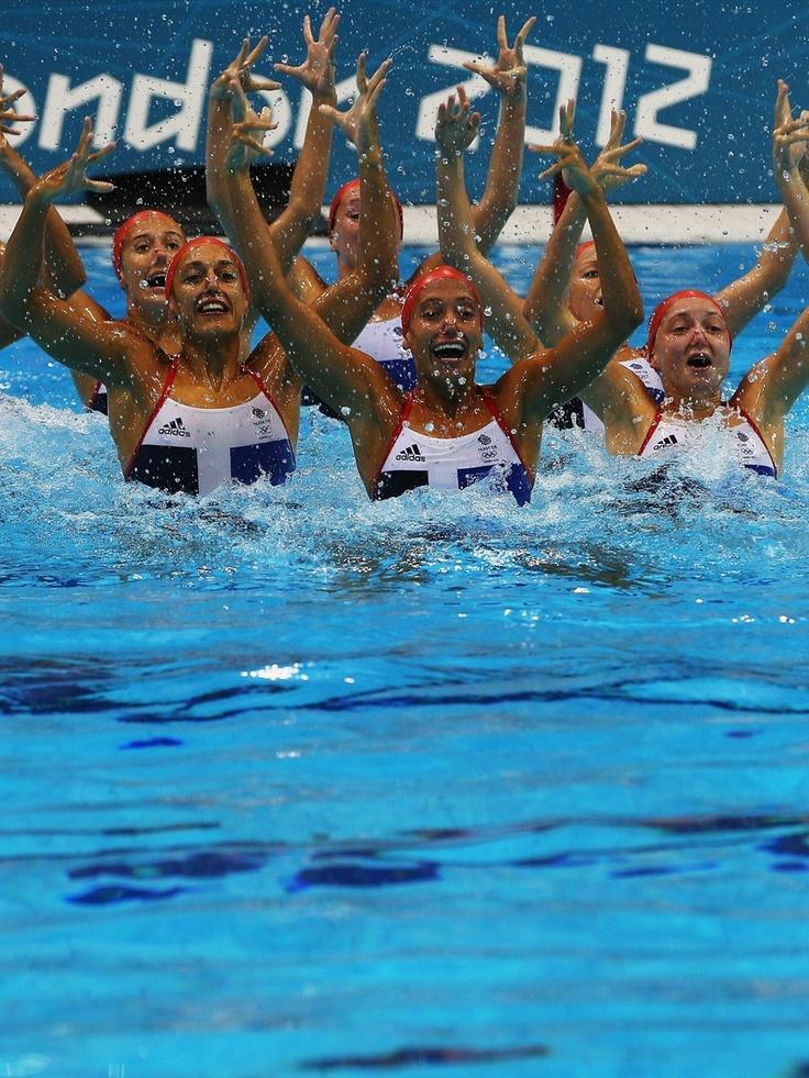 Team GB Synchronised Swimming team practises at the Aquatics Centre