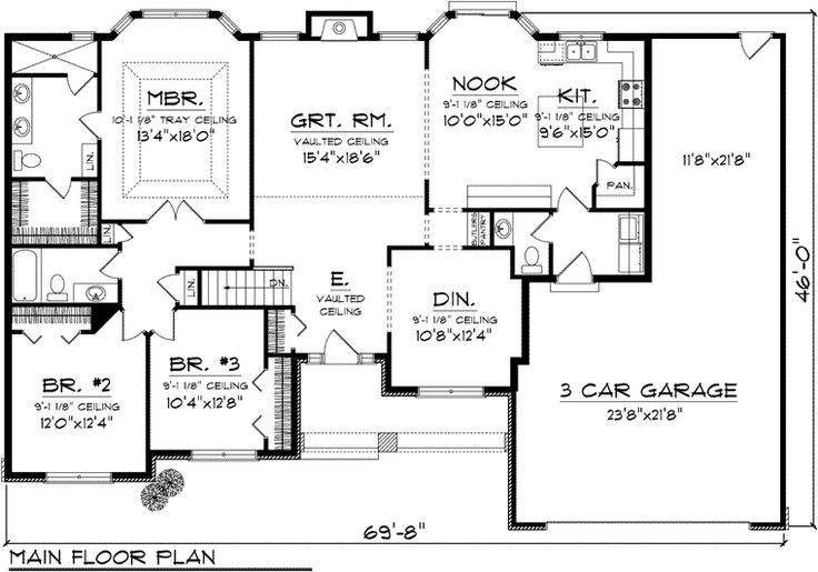 3-Bedroom Ranch Floor Plans | First Floor Plan of Ranch House Plan 73301