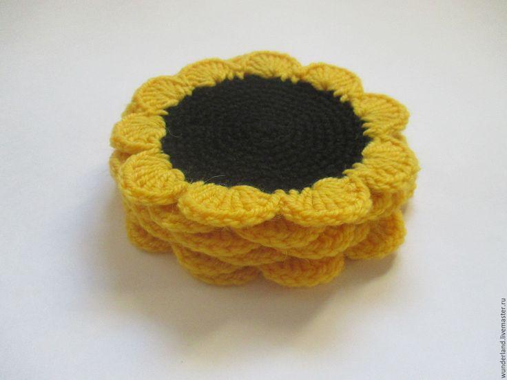 Купить Подставки под чашки Подсолнушек - желтый, комбинированный, желтый цвет, желтые цветы