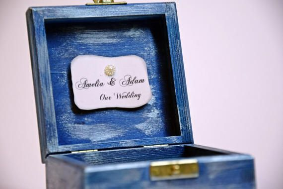 wedding blue ring box handmade rustic gift by VictoriaWeddingArt