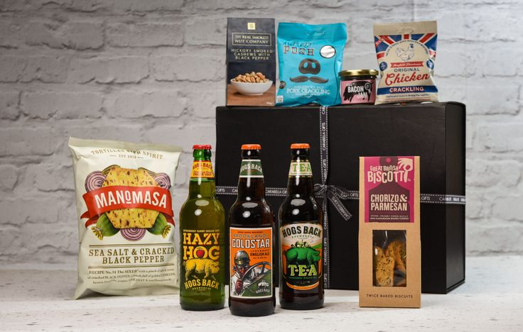 Award winning Ale, Cider and savoury treat hamper - This hamper is filled with Award Winning Hogshead brewery ales and cider.  A selection of fantastic savoury treats including chorizo and parmesan biscotti, hickory smoked cashews and lots more.