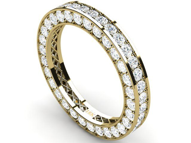 Full Pave Eternity Diamond Ring 18k Yellow Gold 2.72 ct Vs1/H - Paul Jewelry