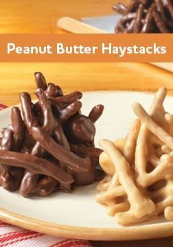 This Peanut Butter Haystacks recipe is a fast no-bake dessert – with a secret ingredient in the recipe!