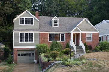 Exterior Paint Colors With Red Brick Design Ideas, Pictures, Remodel, and Decor  Love the gray with the white trim and brick.
