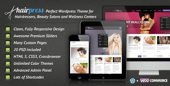Hairpress - WordPress Theme for Hair Salons - Health & Beauty Retail