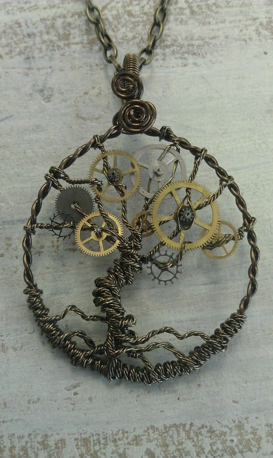 Steampunk Tree of Time Wire Wrapped Necklace with Watch Gears by barbra
