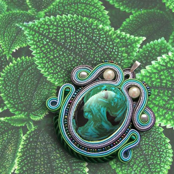 Green Soutache pendant with a large medallion by OnlyLauraDesign, $49.00