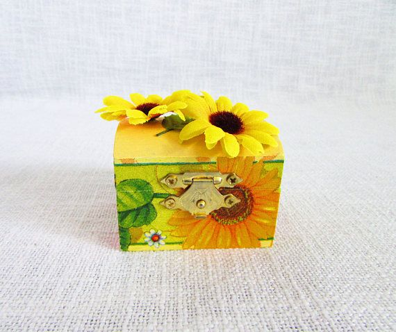 Sunflower box jewelry box sunflower storage wedding favor