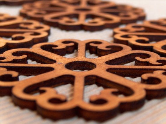 Laser cut wooden coasters set by InvenioCrafts on Etsy, €15.00