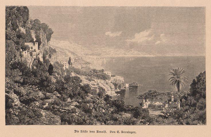 Amalfi, 1886 - Die Kuste von Amalfi (didascalia in tedesco gotico), incisione xilografica su legno di testa, tratta da un dipinto di C.Berninger;