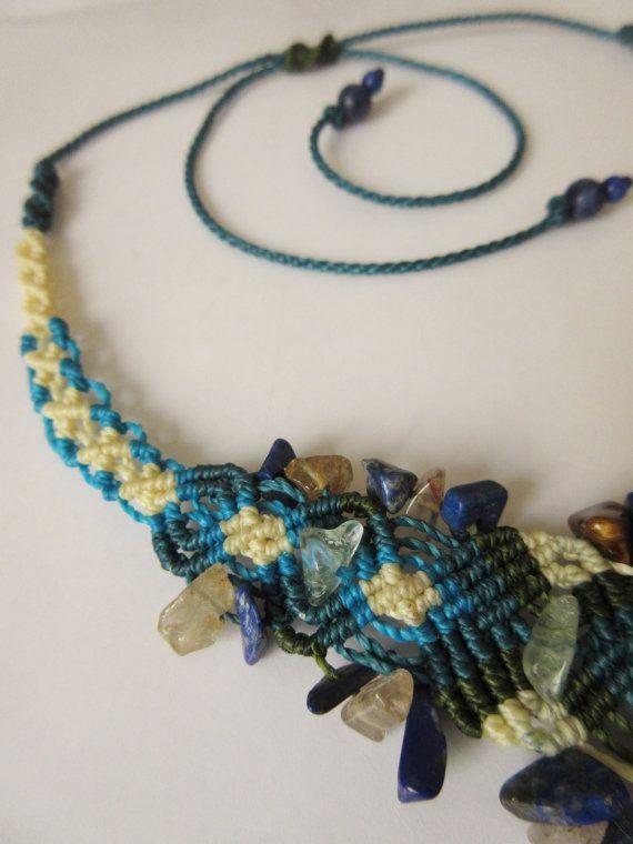 Crisocolla Macrame blu Beige filati collana di PapachoCreations