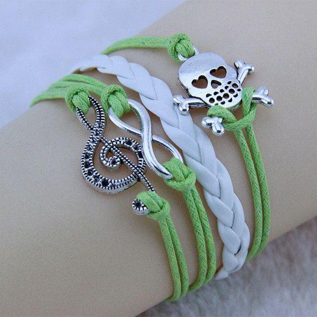 Infinity Music Notation Skeleton Charm Bracelet Handmade Leather Braid Bracelets