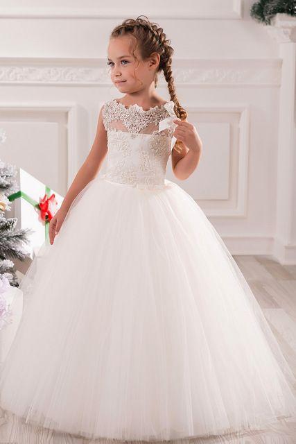 Branco marfim vestidos de primeira comunhão vestidos Tull vestido de baile flor meninas pageant vestido