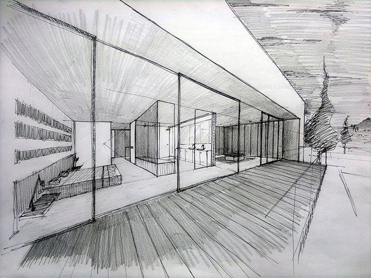 Chiralt Arquitectos I Boceto de terraza en vivienda moderna.