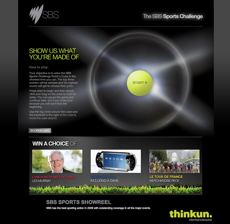 The SBS Sports Challenge microsite