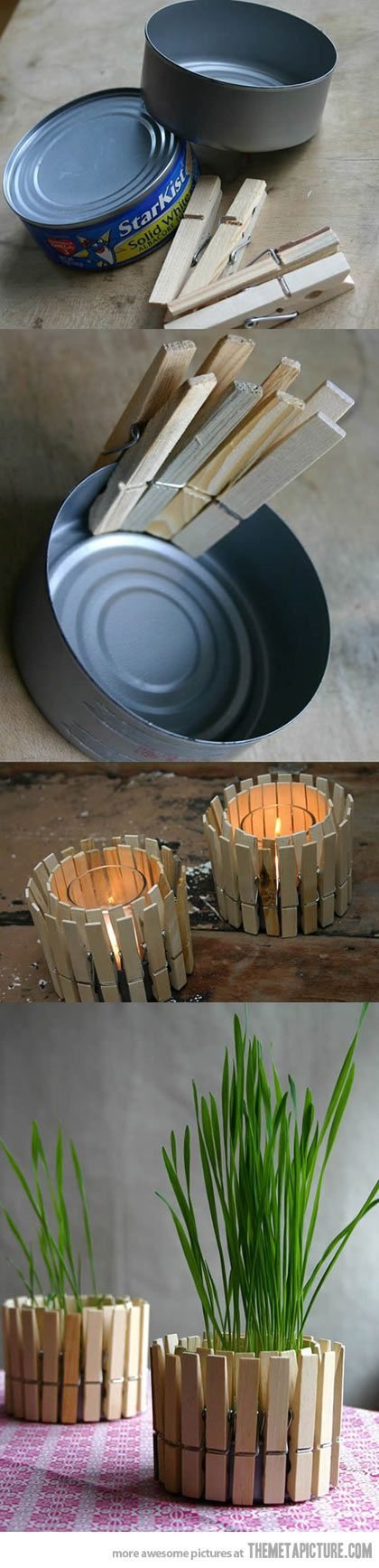 Genius! Tin cans + clothes pins = awesome candle holders! I'll be making some of these with decorated pins.