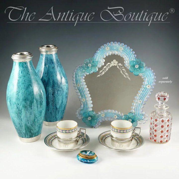 Italian Venetian Murano Art Glass Vanity Table Wall Mirror, Opalescent Blue Rosettes