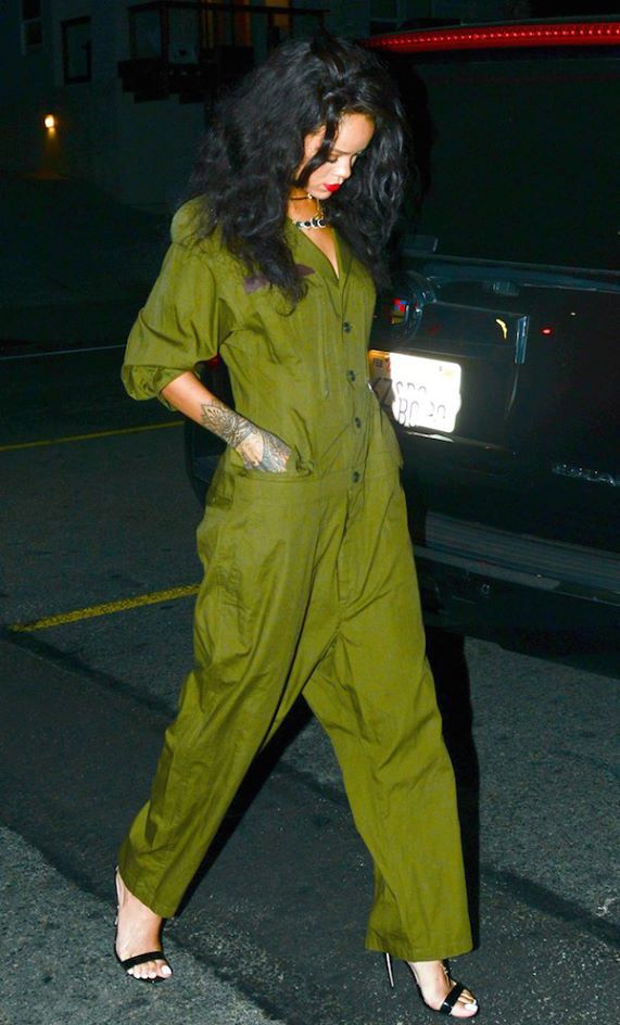 Trending Fashion Style: Jumpsuit. - Rihanna in Yohji Yamamotokhaki green utility jumpsuit,street style.