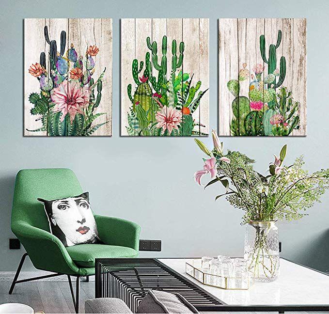 Cactus Decor Bathroom Canvas Prints Wall Art Green Tropical Desert Fleshy Plant Watercolor Paintings Hand Paint Cactus Wall Art Succulent Wall Art Cactus Decor