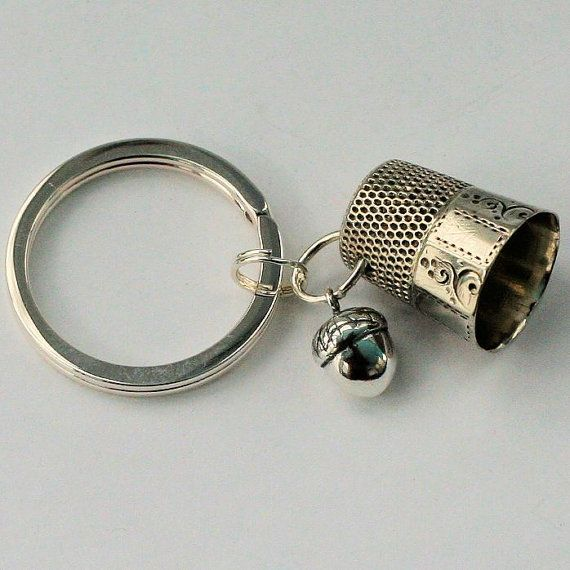 Antique Sterling Silver Peter Pan Thimble and Acorn Hidden Kisses Key Ring - Peter Pan and Wendy