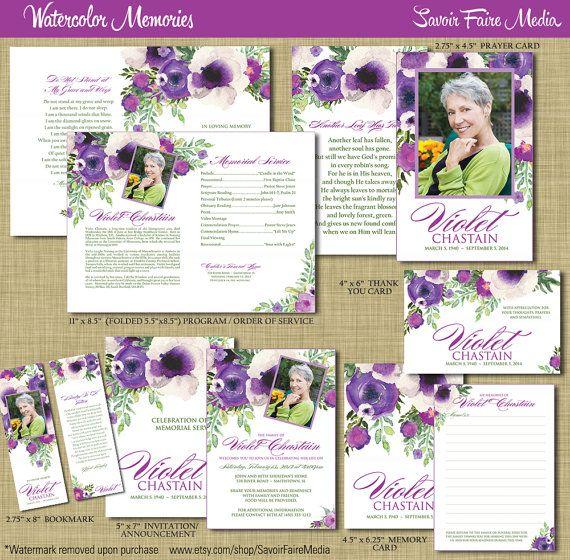 Funeral Memorial Order of Service Program Set - Printable Watercolor Prayer Card, Program, Bookmark, Memory Card, Announcement, Purple