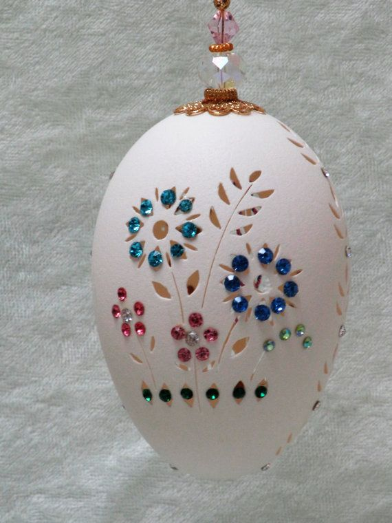Floral and crystal goose egg ornament
